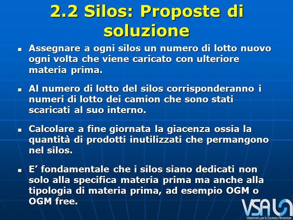 2.2 Silos: Proposte di soluzione Assegnare a ogni silos un numero di lotto nuovo ogni volta che viene caricato con ulteriore materia prima.