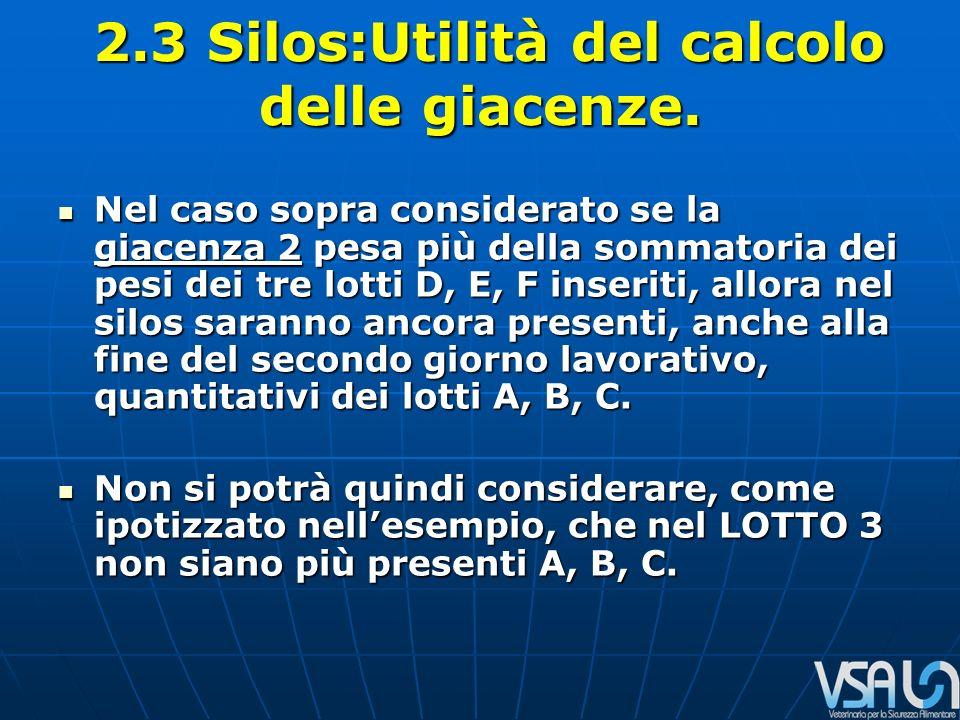 2.3 Silos:Utilità del calcolo delle giacenze. 2.3 Silos:Utilità del calcolo delle giacenze.
