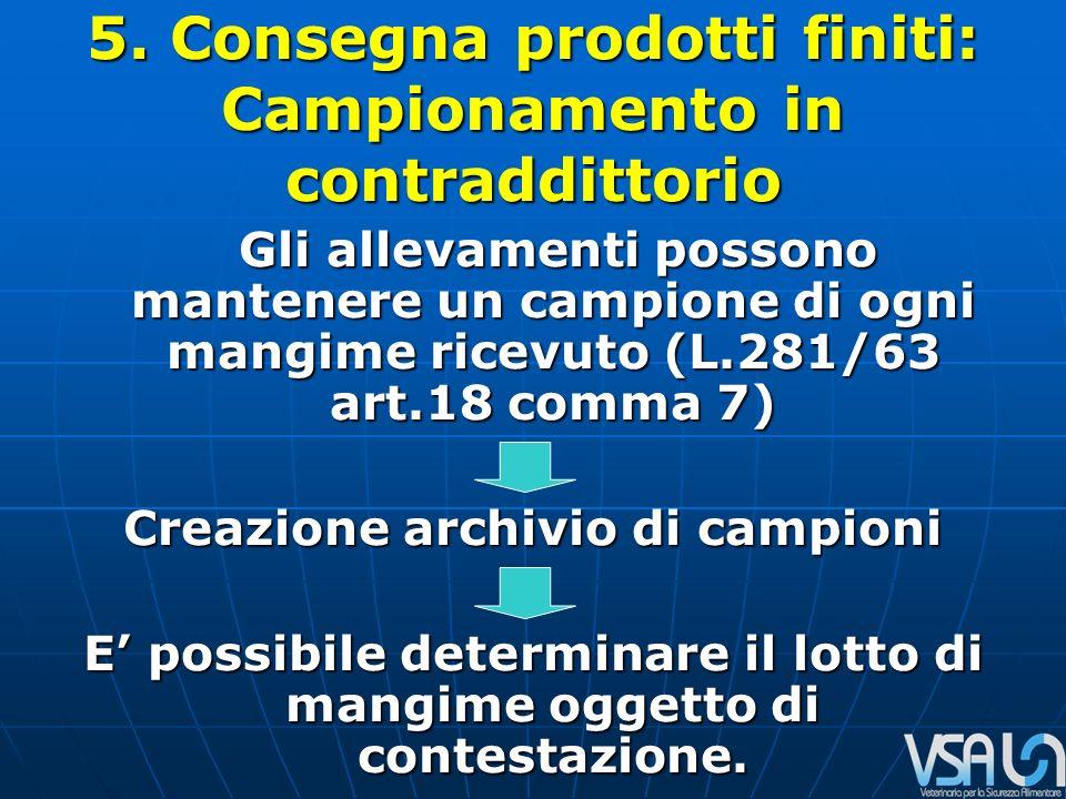 5. Consegna prodotti finiti: Campionamento in contraddittorio Gli allevamenti possono mantenere un campione di ogni mangime ricevuto (L.281/63 art.18