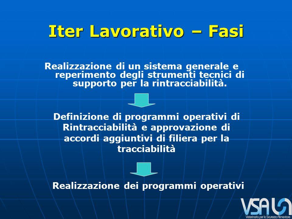 Iter Lavorativo – Fasi Realizzazione di un sistema generale e reperimento degli strumenti tecnici di supporto per la rintracciabilità.