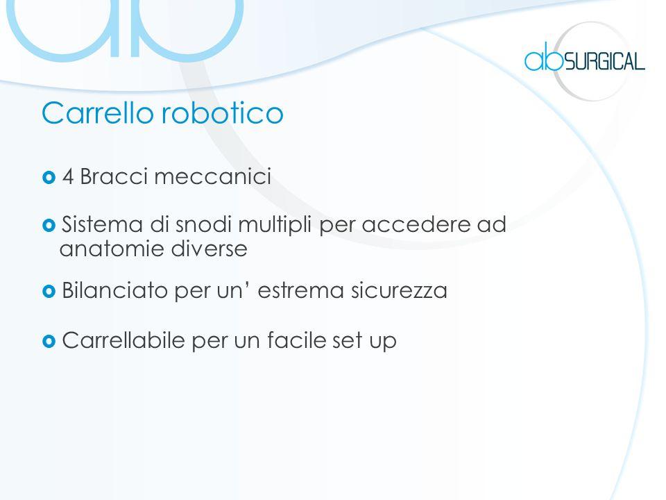 Carrello robotico 4 Bracci meccanici Sistema di snodi multipli per accedere ad anatomie diverse Bilanciato per un estrema sicurezza Carrellabile per un facile set up