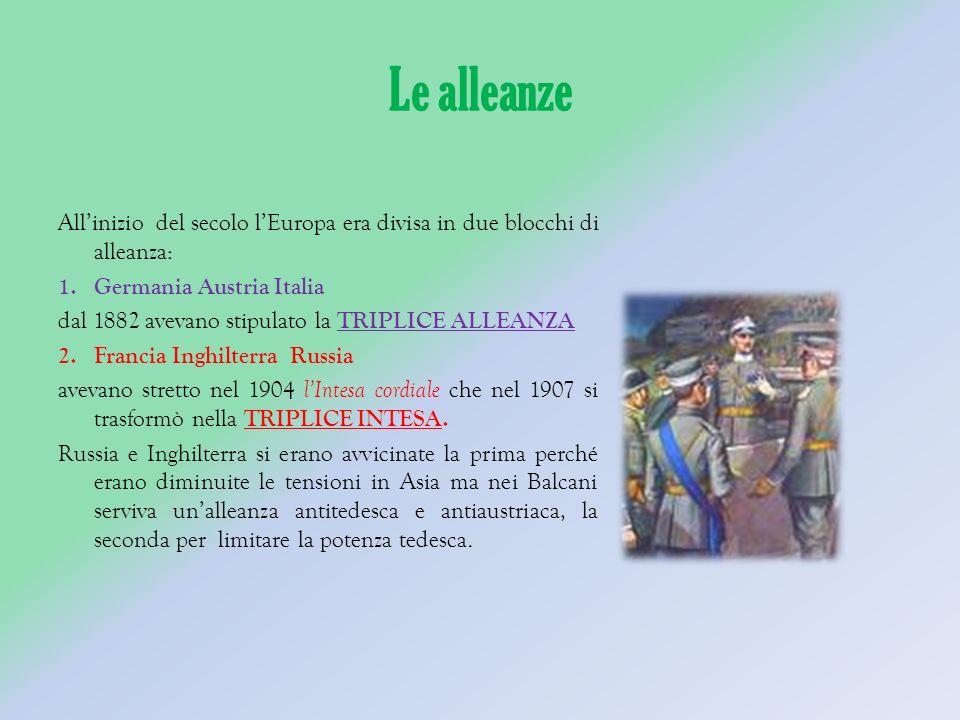 Le alleanze Allinizio del secolo lEuropa era divisa in due blocchi di alleanza: 1.Germania Austria Italia dal 1882 avevano stipulato la TRIPLICE ALLEANZA 2.Francia Inghilterra Russia avevano stretto nel 1904 lIntesa cordiale che nel 1907 si trasformò nella TRIPLICE INTESA.