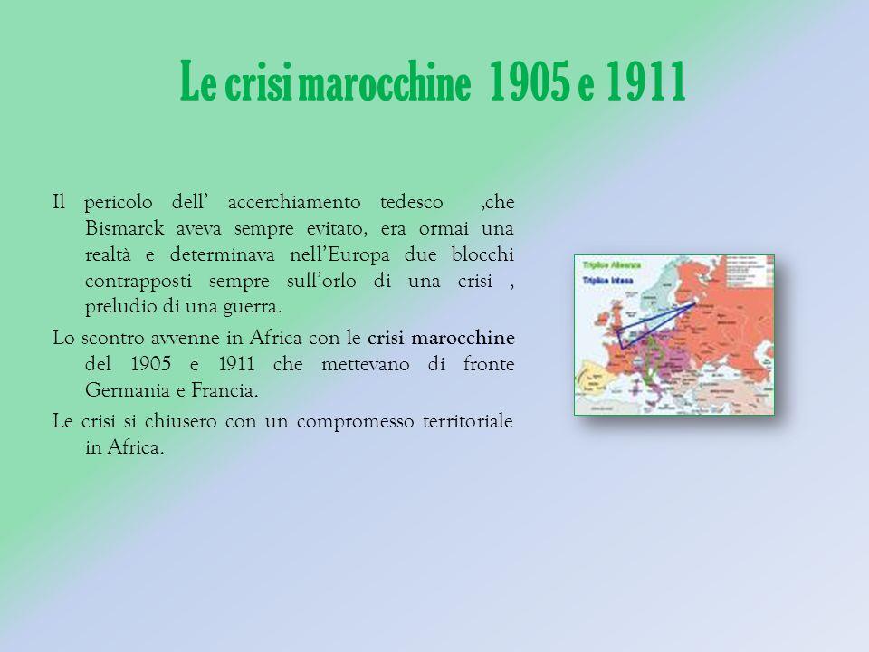 Le crisi marocchine 1905 e 1911 Il pericolo dell accerchiamento tedesco,che Bismarck aveva sempre evitato, era ormai una realtà e determinava nellEuropa due blocchi contrapposti sempre sullorlo di una crisi, preludio di una guerra.