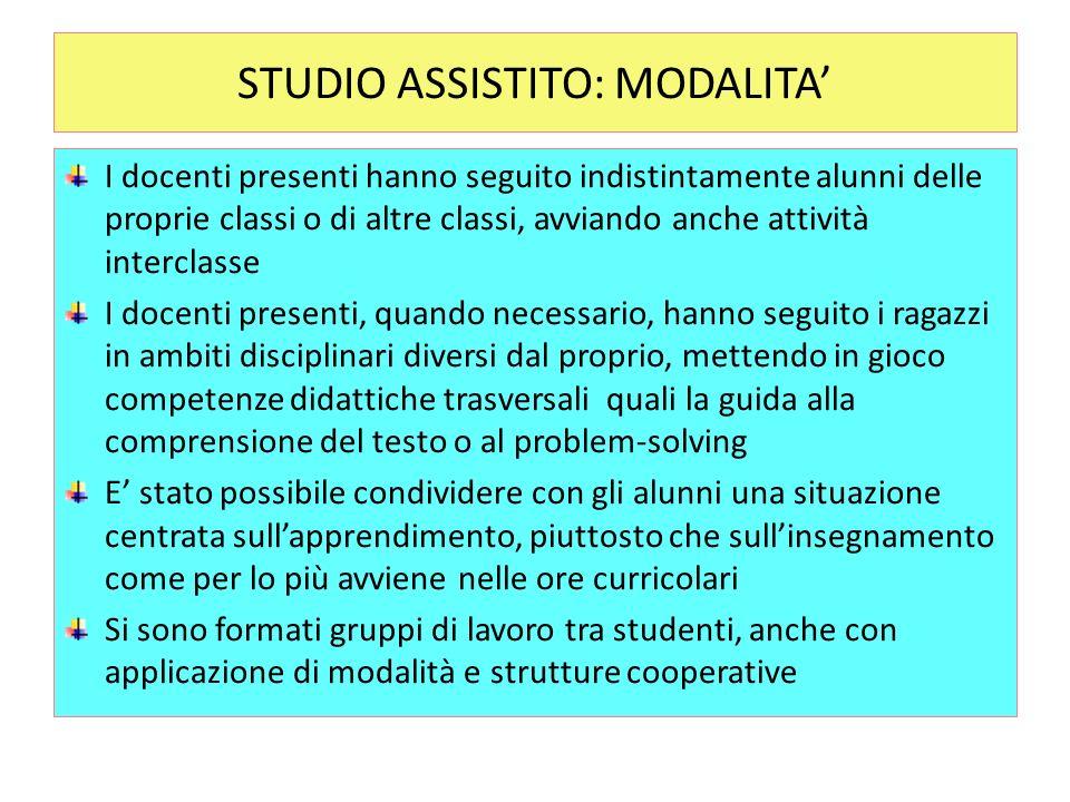 STUDIO ASSISTITO: MODALITA I docenti presenti hanno seguito indistintamente alunni delle proprie classi o di altre classi, avviando anche attività int