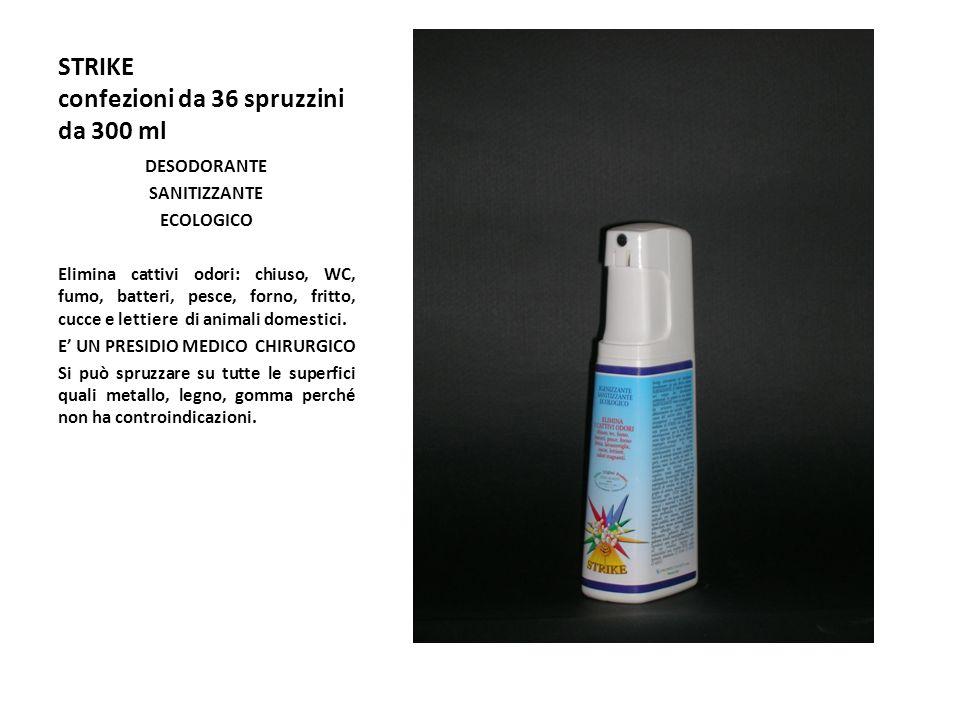 STRIKE confezioni da 36 spruzzini da 300 ml DESODORANTE SANITIZZANTE ECOLOGICO Elimina cattivi odori: chiuso, WC, fumo, batteri, pesce, forno, fritto, cucce e lettiere di animali domestici.