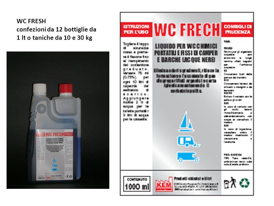WC FRESH confezioni da 12 bottiglie da 1 lt o taniche da 10 e 30 kg