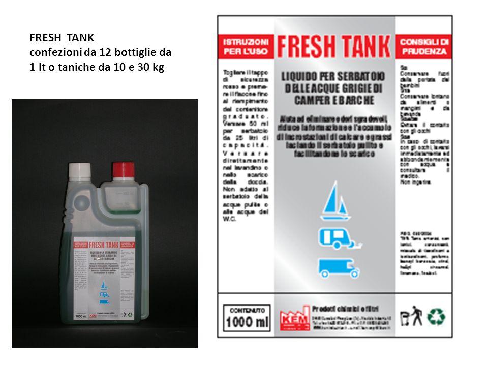 FRESH TANK confezioni da 12 bottiglie da 1 lt o taniche da 10 e 30 kg