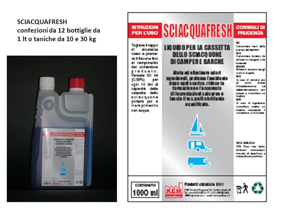 SCIACQUAFRESH confezioni da 12 bottiglie da 1 lt o taniche da 10 e 30 kg
