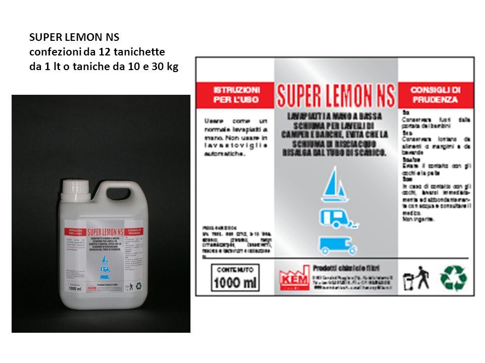 SUPER LEMON NS confezioni da 12 tanichette da 1 lt o taniche da 10 e 30 kg