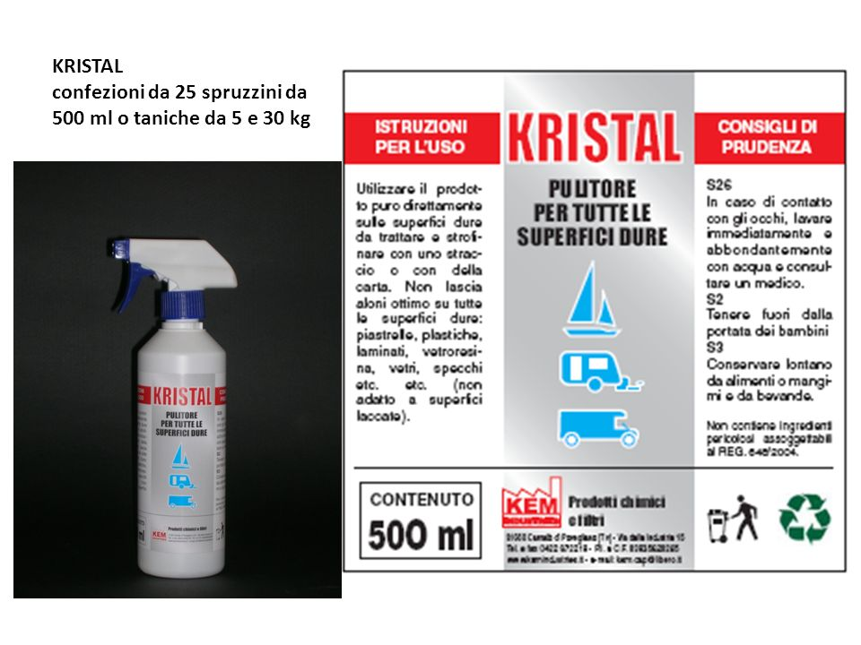 KRISTAL confezioni da 25 spruzzini da 500 ml o taniche da 5 e 30 kg