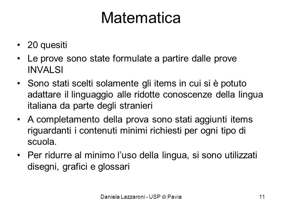 Daniela Lazzaroni - USP di Pavia11 Matematica 20 quesiti Le prove sono state formulate a partire dalle prove INVALSI Sono stati scelti solamente gli i