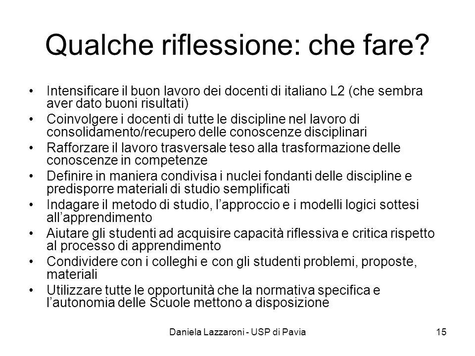 Daniela Lazzaroni - USP di Pavia15 Qualche riflessione: che fare? Intensificare il buon lavoro dei docenti di italiano L2 (che sembra aver dato buoni