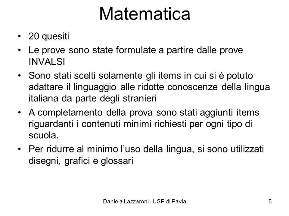 Daniela Lazzaroni - USP di Pavia5 Matematica 20 quesiti Le prove sono state formulate a partire dalle prove INVALSI Sono stati scelti solamente gli it