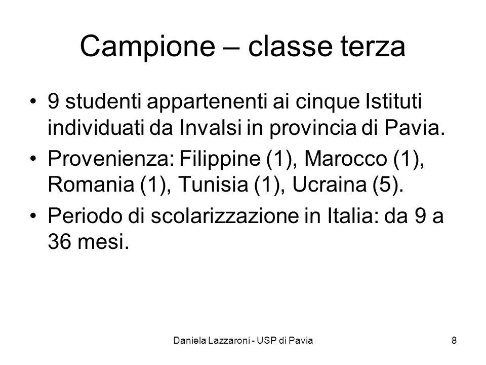 Daniela Lazzaroni - USP di Pavia8 Campione – classe terza 9 studenti appartenenti ai cinque Istituti individuati da Invalsi in provincia di Pavia.