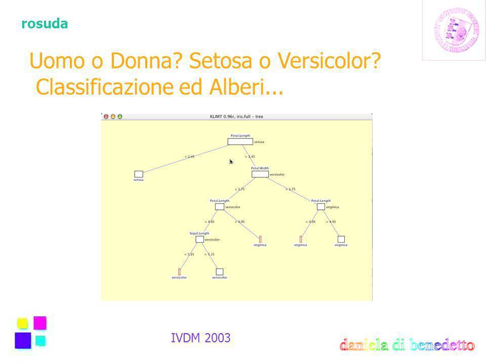 rosuda IVDM 2003 Uomo o Donna Setosa o Versicolor Classificazione ed Alberi...