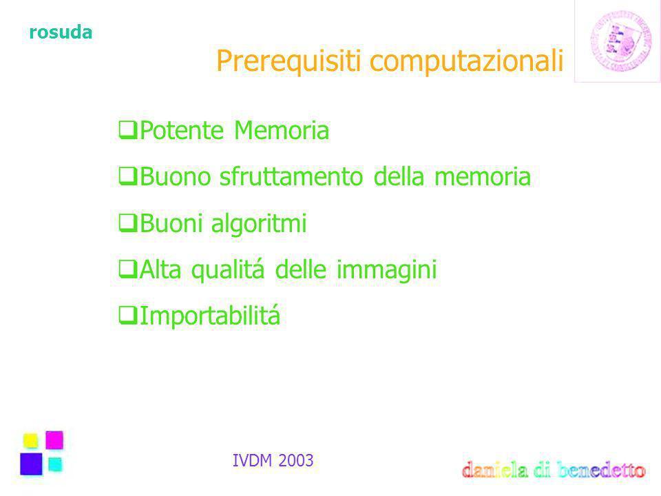 rosuda IVDM 2003 Prerequisiti computazionali Potente Memoria Buono sfruttamento della memoria Buoni algoritmi Alta qualitá delle immagini Importabilitá