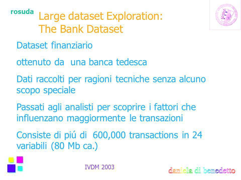 rosuda IVDM 2003 Large dataset Exploration: The Bank Dataset Dataset finanziario ottenuto da una banca tedesca Dati raccolti per ragioni tecniche senza alcuno scopo speciale Passati agli analisti per scoprire i fattori che influenzano maggiormente le transazioni Consiste di piú di 600,000 transactions in 24 variabili (80 Mb ca.)