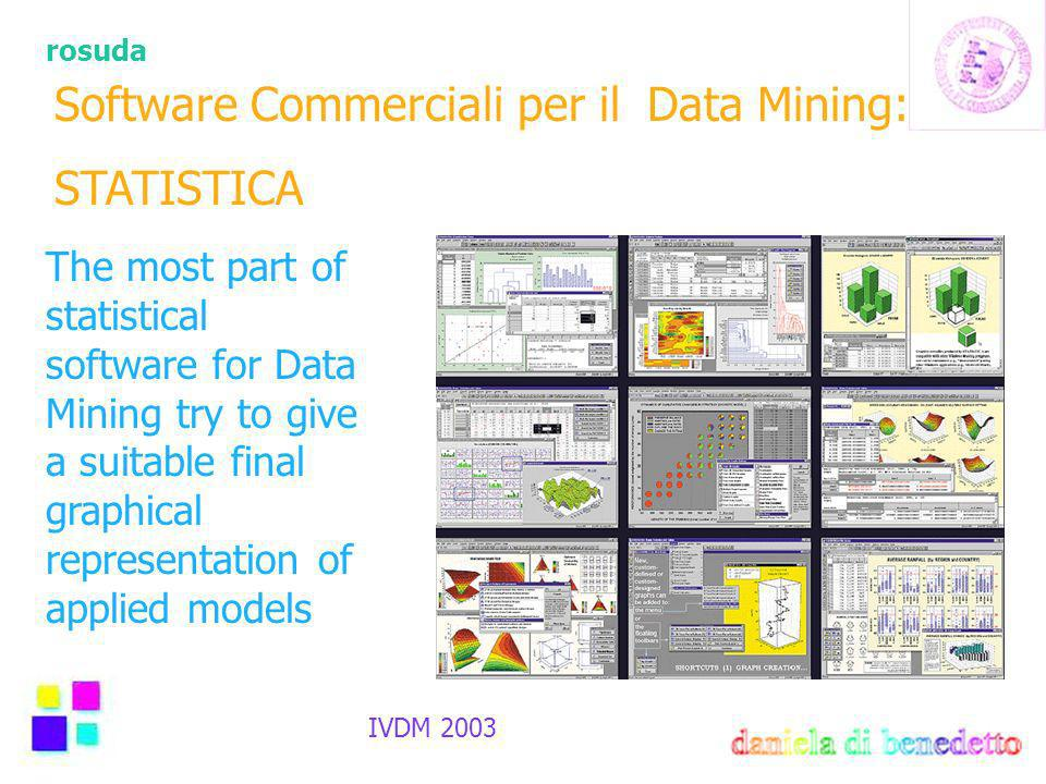 rosuda IVDM 2003 Software Commerciali per il Data Mining: STATISTICA The most part of statistical software for Data Mining try to give a suitable final graphical representation of applied models