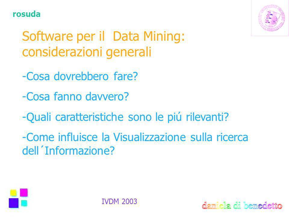 rosuda IVDM 2003 Software per il Data Mining: considerazioni generali -Cosa dovrebbero fare.