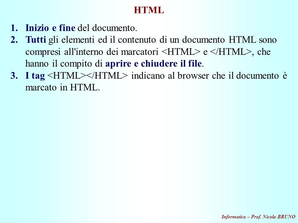 Informatica – Prof. Nicola BRUNO HTML 1.Inizio e fine del documento. 2.Tutti gli elementi ed il contenuto di un documento HTML sono compresi all'inter