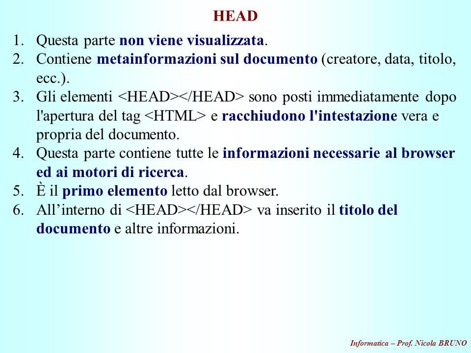 Informatica – Prof. Nicola BRUNO HEAD 1.Questa parte non viene visualizzata. 2.Contiene metainformazioni sul documento (creatore, data, titolo, ecc.).