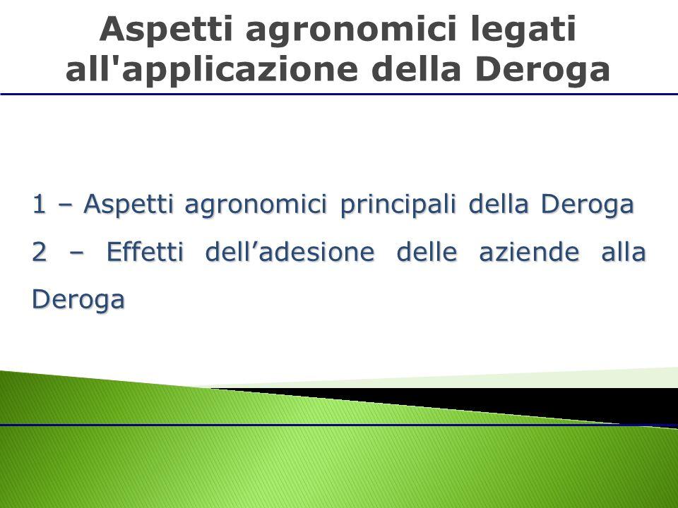 1 – Aspetti agronomici principali della Deroga 2 – Effetti delladesione delle aziende alla Deroga Aspetti agronomici legati all'applicazione della Der