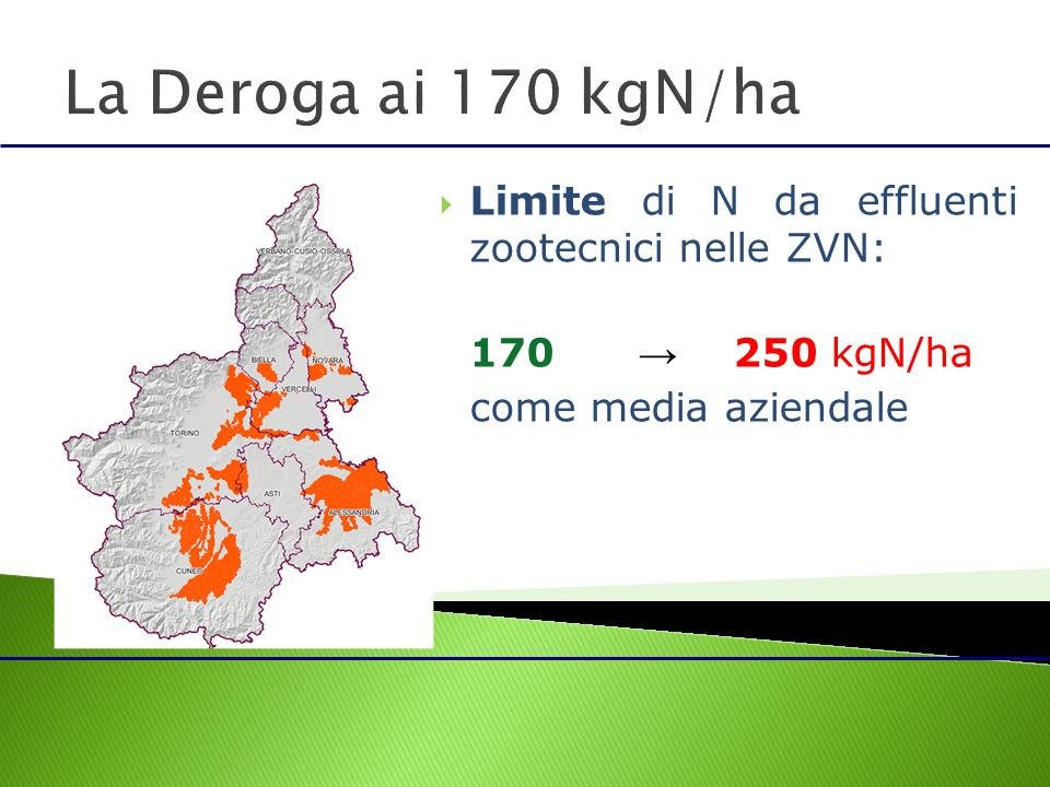 Limite di N da effluenti zootecnici nelle ZVN: 170 250 kgN/ha come media aziendale
