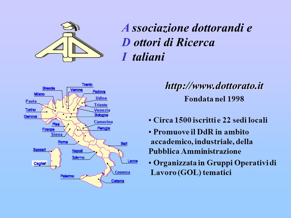 http://www.dottorato.it Fondata nel 1998 Circa 1500 iscritti e 22 sedi locali Promuove il DdR in ambito accademico, industriale, della Pubblica Amministrazione Organizzata in Gruppi Operativi di Lavoro (GOL) tematici A ssociazione dottorandi e D ottori di Ricerca I taliani