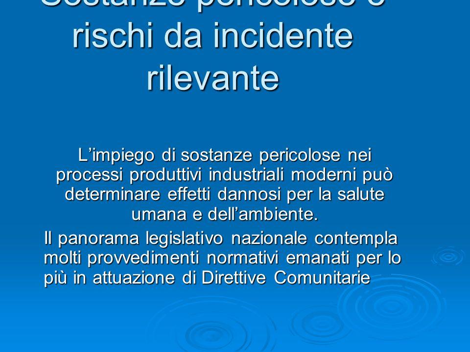Sostanze pericolose e rischi da incidente rilevante Limpiego di sostanze pericolose nei processi produttivi industriali moderni può determinare effett