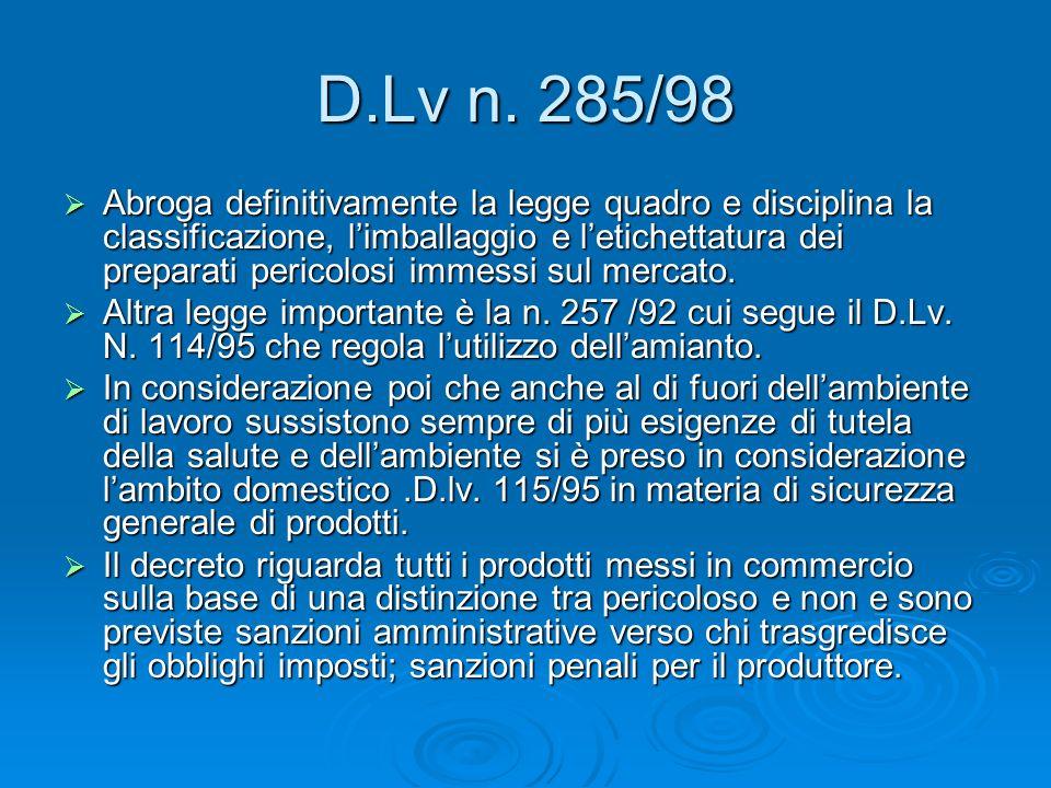 D.Lv n. 285/98 Abroga definitivamente la legge quadro e disciplina la classificazione, limballaggio e letichettatura dei preparati pericolosi immessi