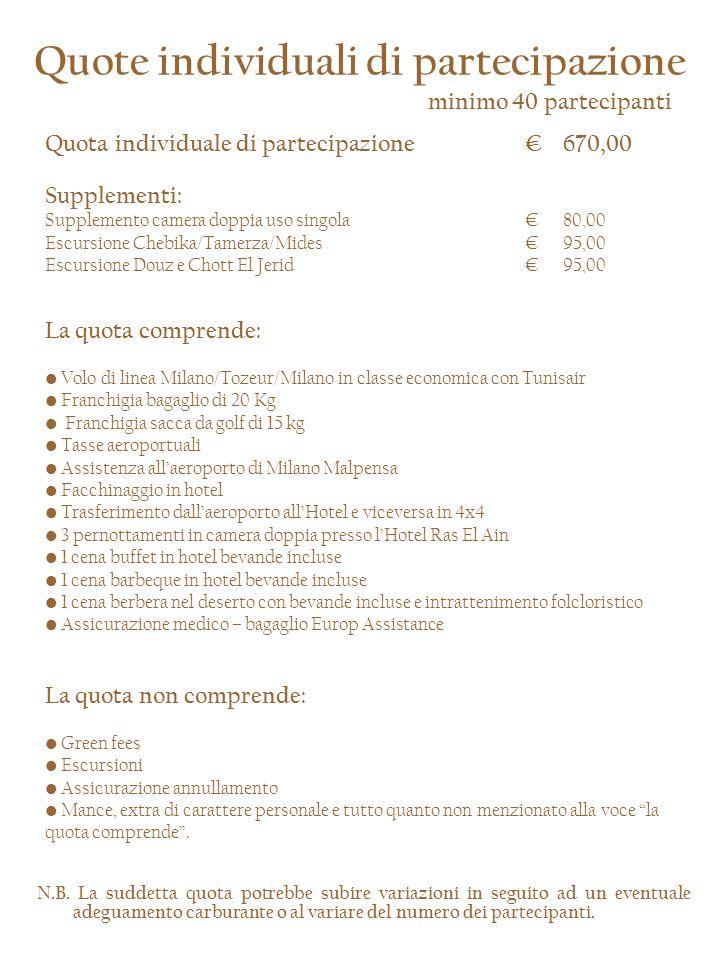 SCHEDA di PARTECIPAZIONE Tozeur 18/21 novembre 2010 Vi invitiamo ad inviare la presente scheda, compilata in stampatello in ogni sua parte con allegato copia del bonifico bancario a: Dott.ssa Katia Maino Di Lauro LORCHIDEA VIAGGI Srl – Viale Montenero, 20 - 20135 Milano Tel.