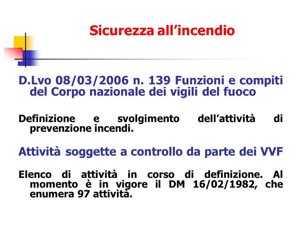 D.Lvo 08/03/2006 n. 139 Funzioni e compiti del Corpo nazionale dei vigili del fuoco Definizione e svolgimento dellattività di prevenzione incendi. Att