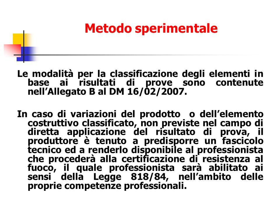 Le modalità per la classificazione degli elementi in base ai risultati di prove sono contenute nellAllegato B al DM 16/02/2007. In caso di variazioni