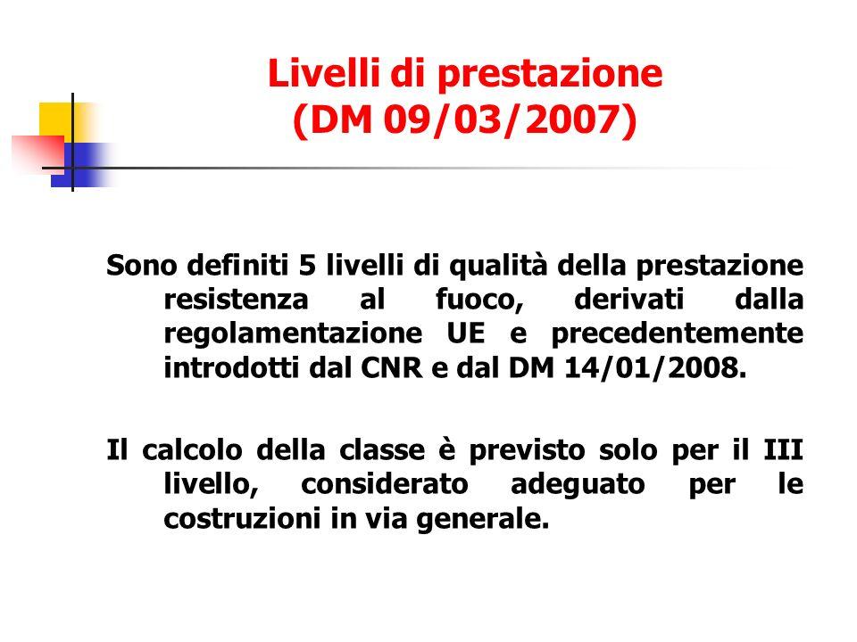 Sono definiti 5 livelli di qualità della prestazione resistenza al fuoco, derivati dalla regolamentazione UE e precedentemente introdotti dal CNR e dal DM 14/01/2008.