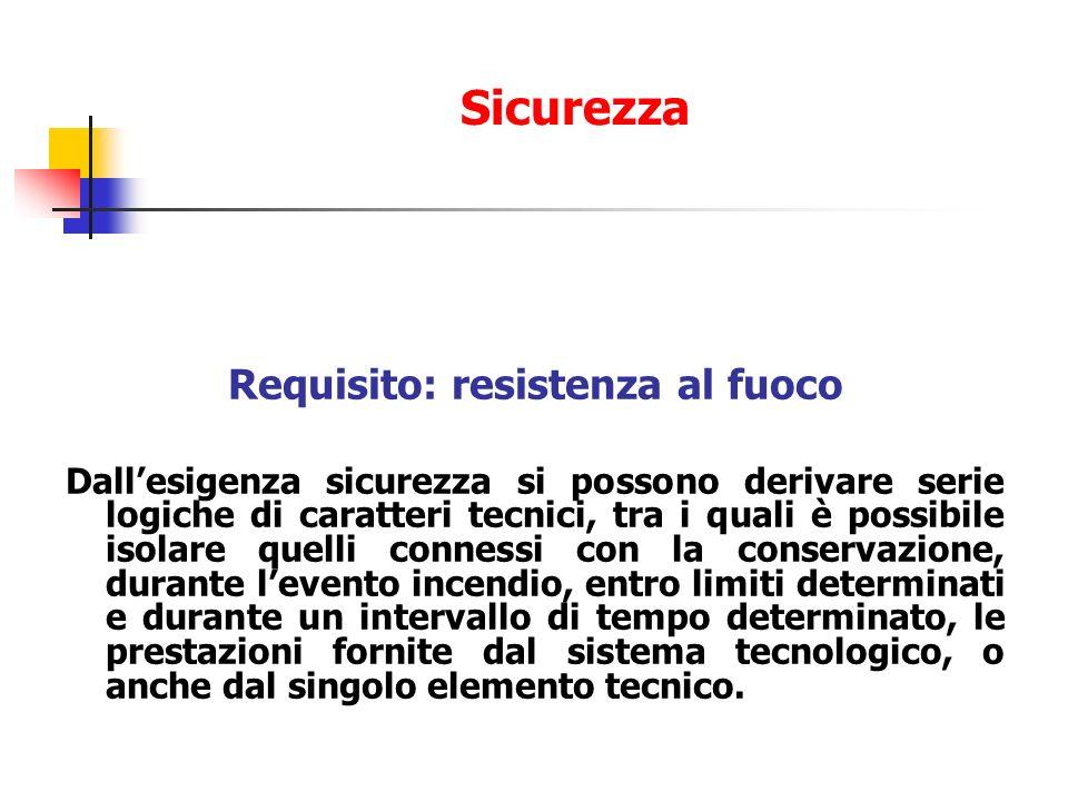 Requisito: resistenza al fuoco Dallesigenza sicurezza si possono derivare serie logiche di caratteri tecnici, tra i quali è possibile isolare quelli c