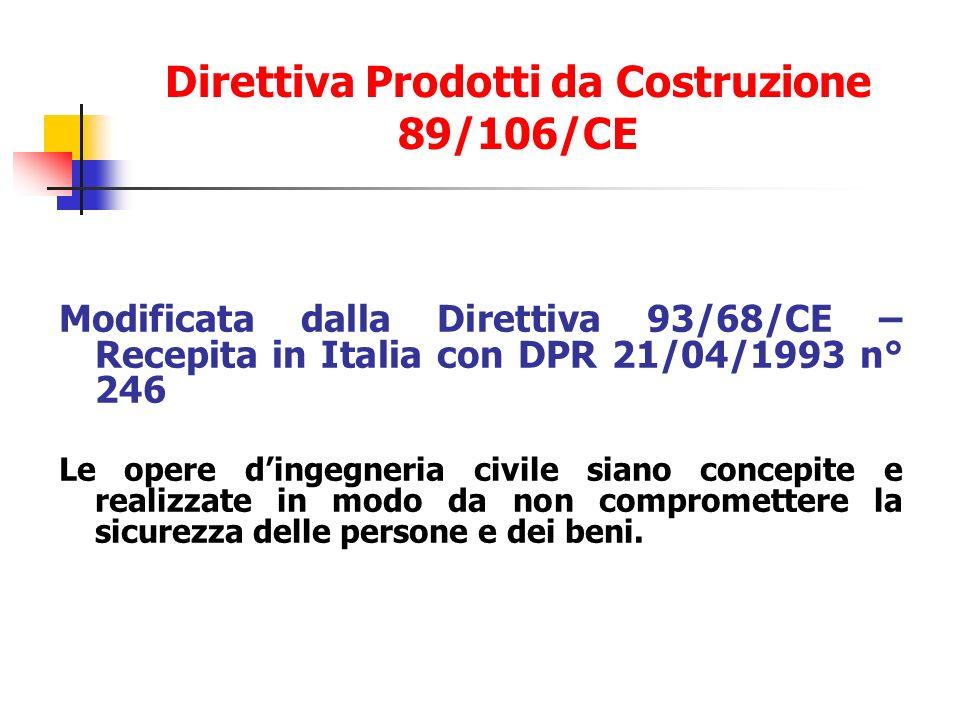Modificata dalla Direttiva 93/68/CE – Recepita in Italia con DPR 21/04/1993 n° 246 Le opere dingegneria civile siano concepite e realizzate in modo da non compromettere la sicurezza delle persone e dei beni.