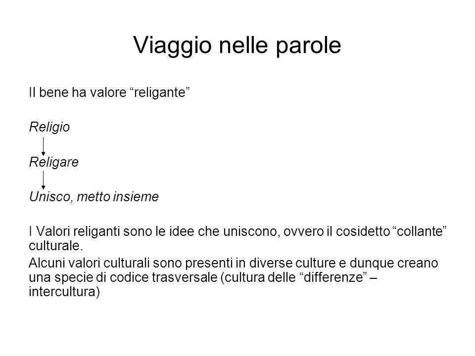 Viaggio nelle parole Il bene ha valore religante Religio Religare Unisco, metto insieme I Valori religanti sono le idee che uniscono, ovvero il coside
