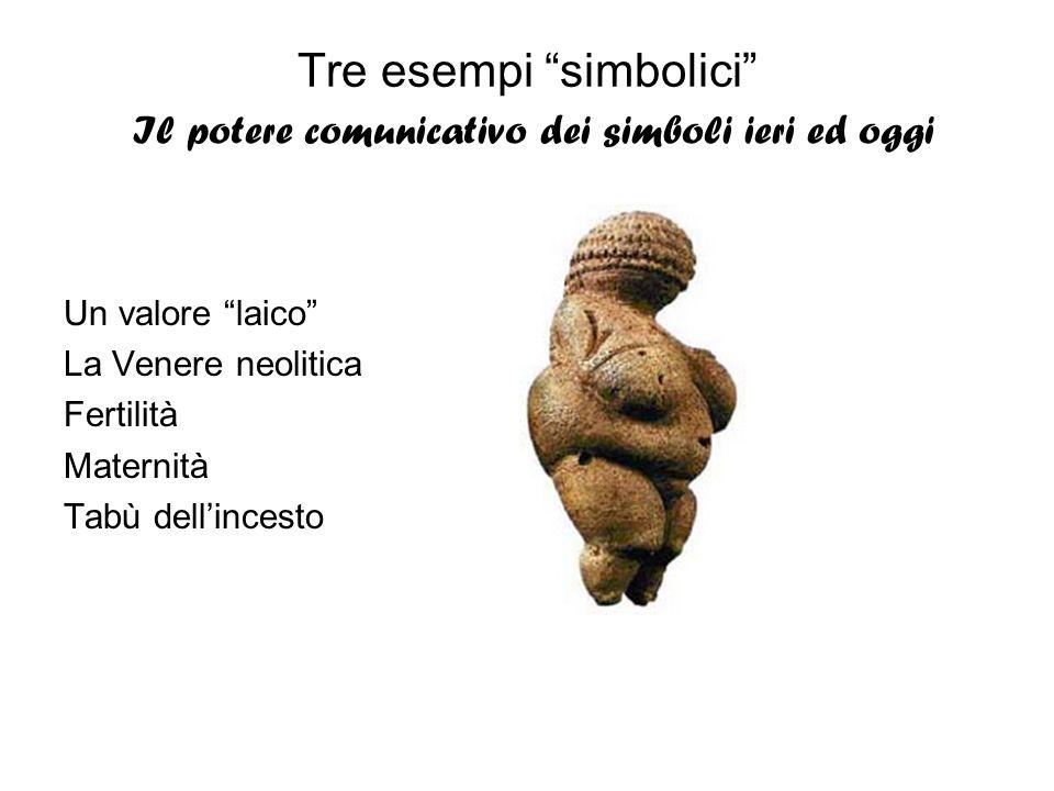Tre esempi simbolici Il potere comunicativo dei simboli ieri ed oggi Un valore laico La Venere neolitica Fertilità Maternità Tabù dellincesto