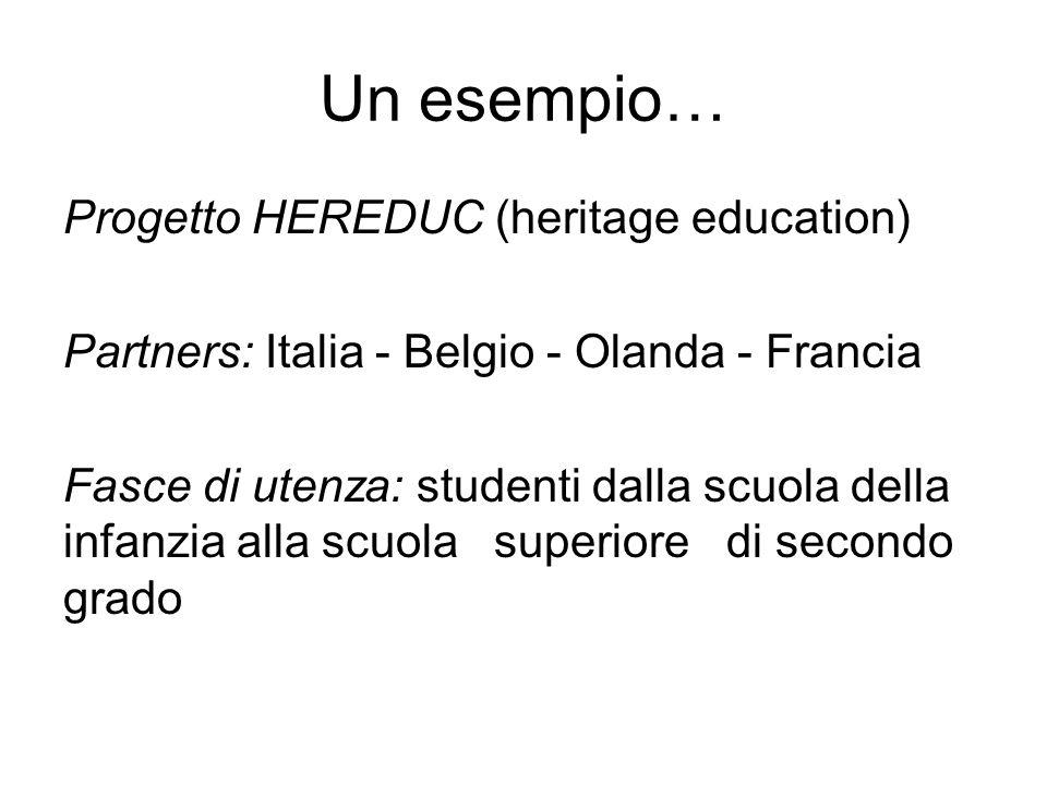 Un esempio… Progetto HEREDUC (heritage education) Partners: Italia - Belgio - Olanda - Francia Fasce di utenza: studenti dalla scuola della infanzia a