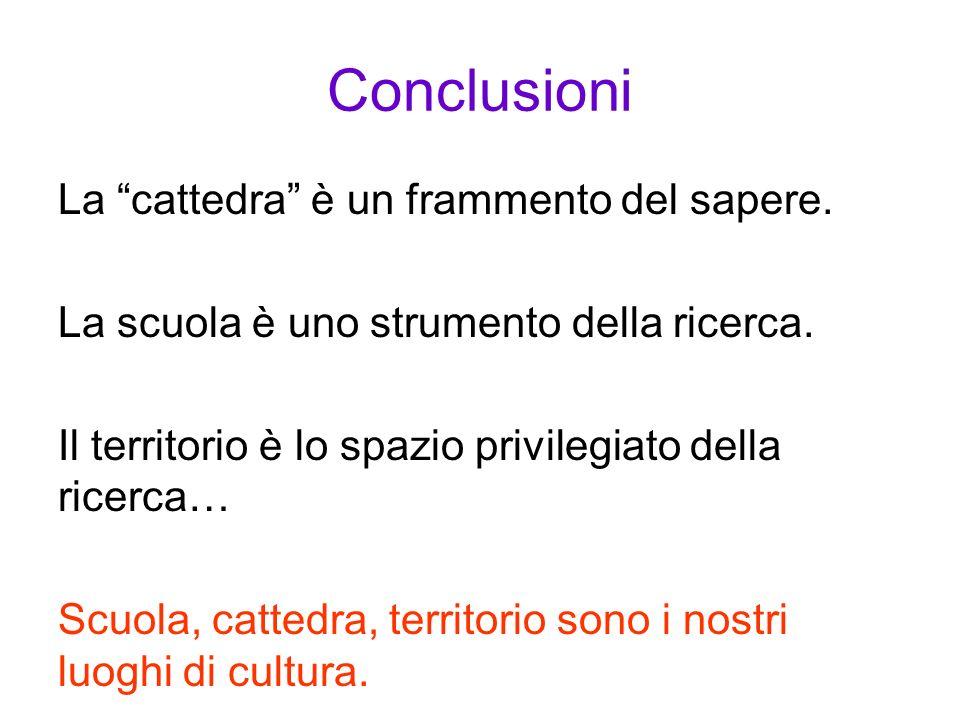 Conclusioni La cattedra è un frammento del sapere. La scuola è uno strumento della ricerca. Il territorio è lo spazio privilegiato della ricerca… Scuo