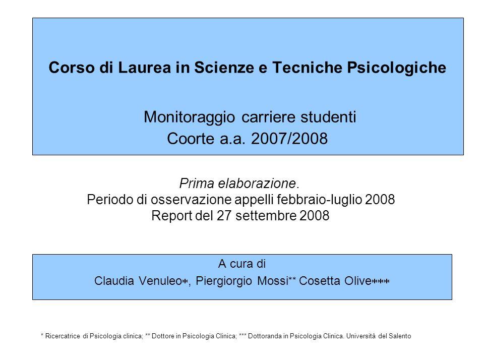 Il presente report costituisce la prima elaborazione di un lavoro di monitoraggio delle carriere degli studenti del Corso di Laurea in Scienze e Tecniche Psicologiche (Facoltà di Scienze della Formazione - Università del Salento).