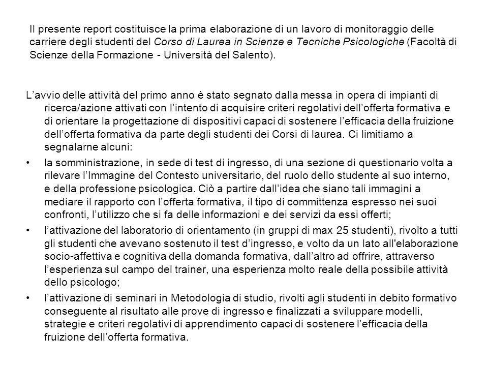Il presente report costituisce la prima elaborazione di un lavoro di monitoraggio delle carriere degli studenti del Corso di Laurea in Scienze e Tecni