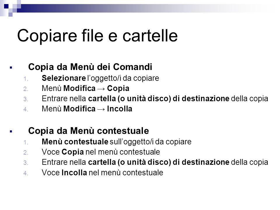 Copiare file e cartelle Copia da Menù dei Comandi 1.