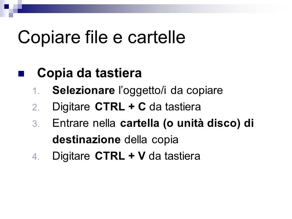 Copiare file e cartelle Copia da tastiera 1. Selezionare loggetto/i da copiare 2.
