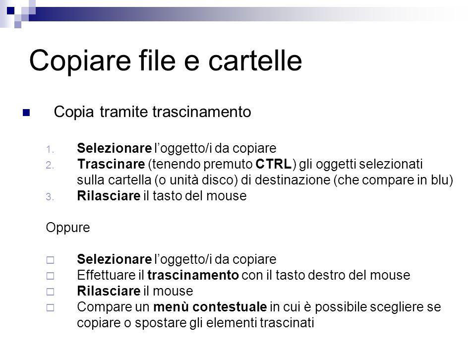 Copiare file e cartelle Copia tramite trascinamento 1.