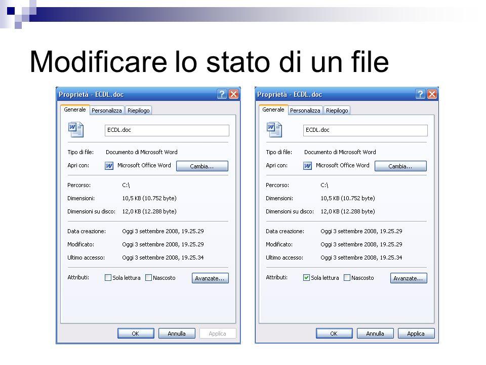 Modificare lo stato di un file