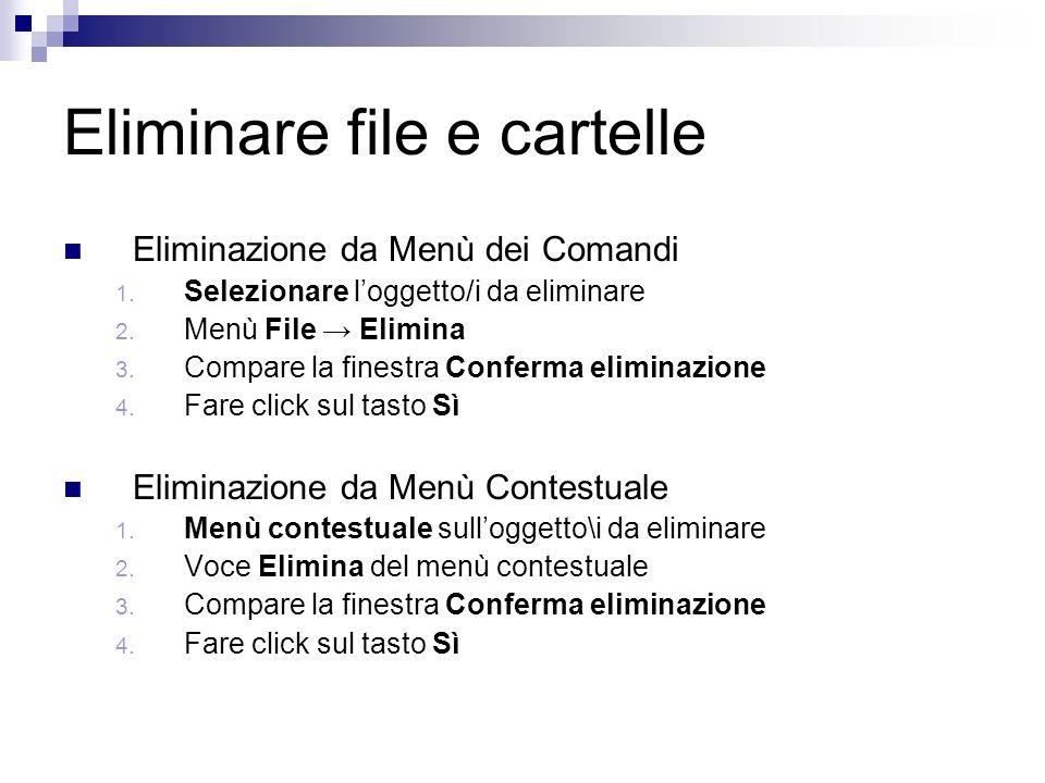 Eliminare file e cartelle Eliminazione da Menù dei Comandi 1.