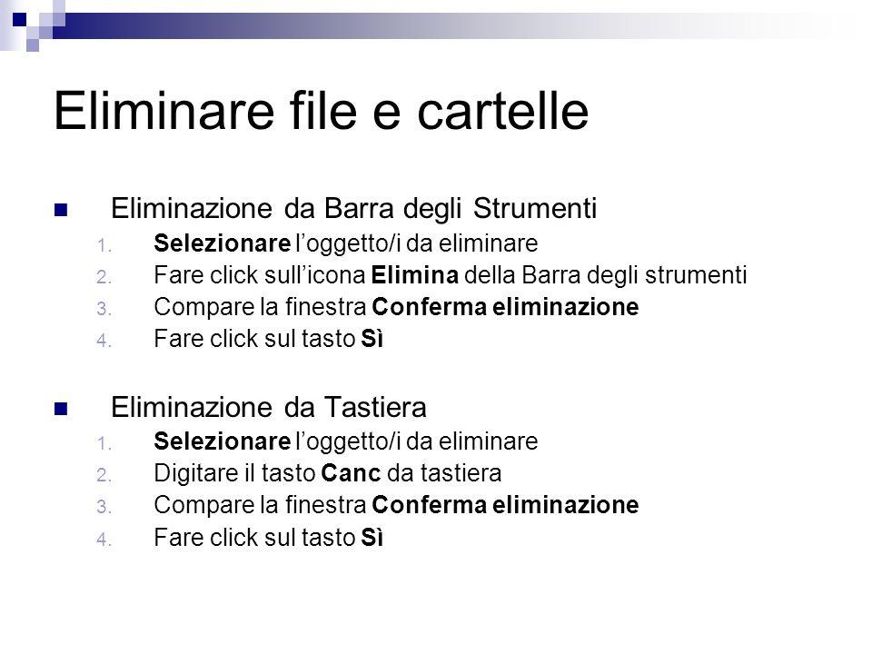 Eliminare file e cartelle Eliminazione da Barra degli Strumenti 1.
