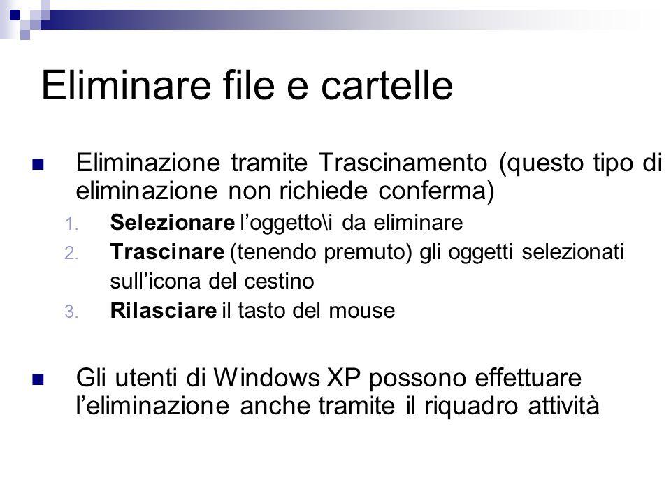Eliminare file e cartelle Eliminazione tramite Trascinamento (questo tipo di eliminazione non richiede conferma) 1.