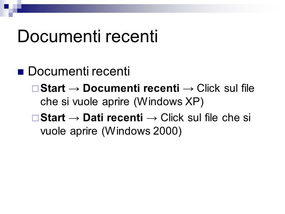 Documenti recenti Start Documenti recenti Click sul file che si vuole aprire (Windows XP) Start Dati recenti Click sul file che si vuole aprire (Windows 2000)